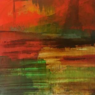 50x50 cm, acrylic, collage, oil on canvas, 2019